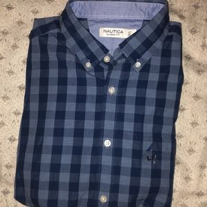 NWT Nautical Long Sleeve Button Down Shirt Blue